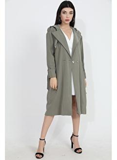 Vpr Moda Arkası Baskılı Kapşonlu Beli Düğmeli Kuşaklı Kadın Cupra Trençkot